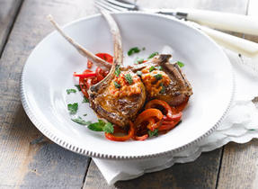Lamb Chops with Sun-Dried Tomato and Bocconcini Pesto