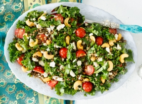 Lentil, kale and Feta salad