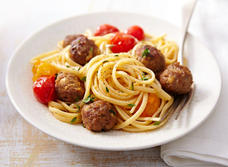 Linguini with lamb meatballs and Feta
