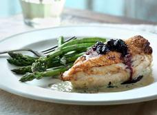 Maple-blueberry chicken stuffed with Canadian Brie and Basil Crème