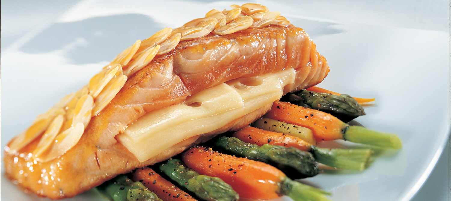 Maple Salmon Fillet with Melted Swiss and an Almond Crust recipe