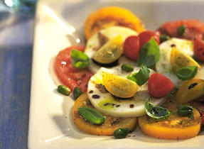 Marinated Cheese Salad with Pistachios and Tomatoes