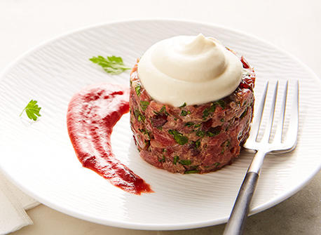 Mascarpone & cranberry beef tartare  Recipe