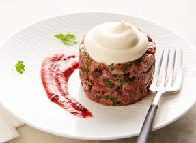 Mascarpone & cranberry beef tartare