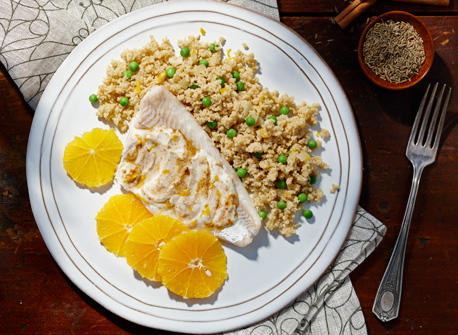 Moroccan spiced fish and couscous recipe dairy goodness for Moroccan fish recipe