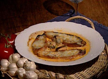 Mussel Soup au Gratin with Saffron and Gruyere Recipe