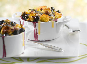 New Brunswick Blueberry, Lemon and White Chocolate Bread Pudding with Maple Cream Sauce