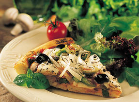 Olive Mushroom and Bocconcini Pizza