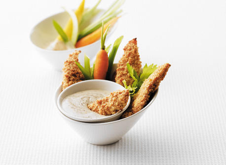 Oven-Baked Chicken Fingers with Zesty Caesar Dip Recipe
