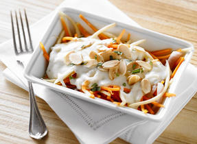 Parsnip and Carrot in Mozzarella Cheese Sauce