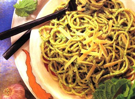 Pasta with Creamy Pesto Sauce Recipe