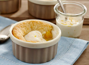 Peach Cobbler with Orange Yogurt Sauce