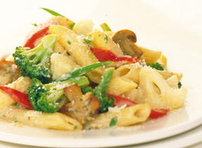 Penne with Broccoli, Mushrooms and Cauliflower