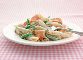 Penne with Salmon, Herbs and Garlic