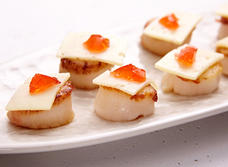 Pepper jelly scallops with Havarti