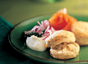 Perron Old Cheddar Scones and Smoked Salmon