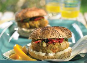 Pesto, Provolone, Shrimp Cheeseburger