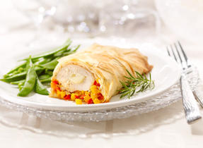 Phyllo Chicken with Brie and Veggie Confetti