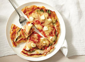 Pizza Tortillas with Ham, Edam and Feta