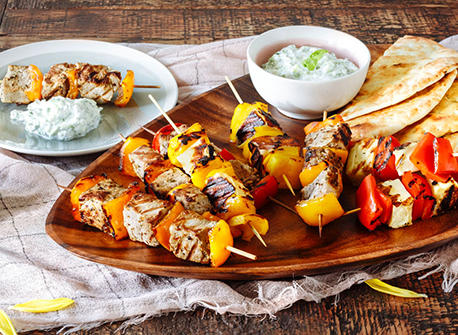 Pork Souvlaki with Halloumi Pepper Skewers Recipe