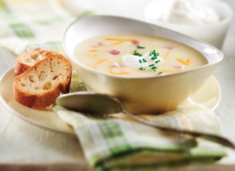 Potato, Cheddar & Ham Soup with Chive Yogurt recipe | Dairy Goodness