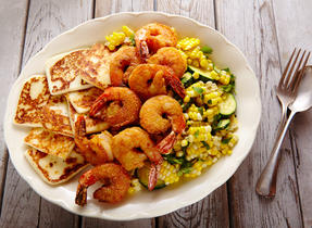 Queso Fresco, shrimp & corn