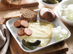 Raclette with Potatoes, Sausage and Fennel