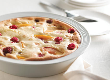 Raspberry Peach Clafouti recipe | Dairy Goodness