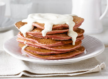 Red Velvet Pancakes with Cream Cheese Topping recipe | Dairy Goodness