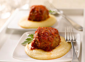 Ricotta Stuffed Meatballs on Polenta