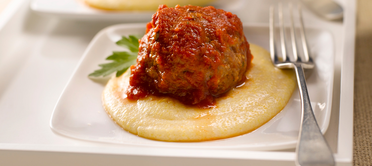 Ricotta Stuffed Meatballs on Polenta recipe | Dairy Goodness