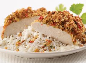 Roast Chicken with Red Pepper Crust & Garlic Cream