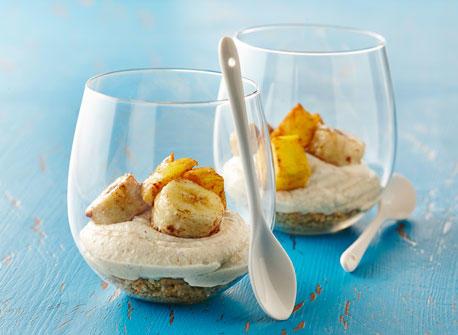 Roasted Banana Mango Cheesecake Cups Recipe