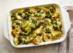 Roasted broccoli & Brussels sprouts with Swiss twist