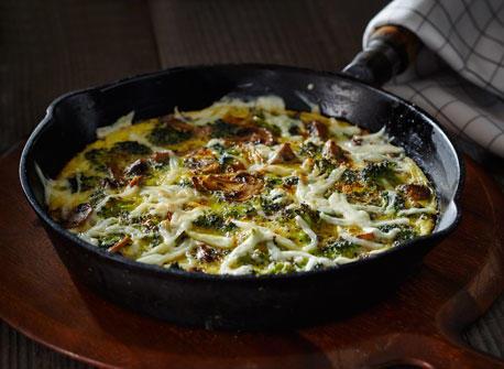 Roasted Broccoli Mushroom Mozza Frittata Recipe