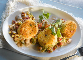 Roasted Corn, Lime and Coriander Creamy Succotash Crispy Chili and Panko Crusted Scallops