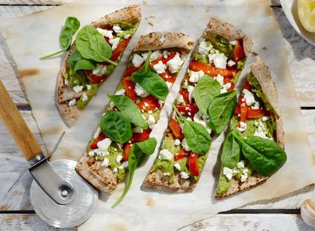 Roasted Pepper, Spinach and Feta Flatbreads Recipe
