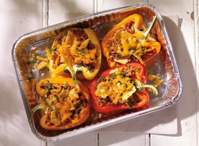 Roasted Peppers with Frijoles and Cheddar