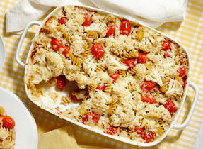 Roasted Tomato and Cauliflower Pasta Bake