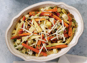 Roasted Vegetable Salad with Gunn's Hill Five Brothers Cheese