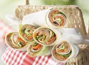 Rolled sandwiches with Cheddar
