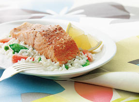 Salmon and Rice Primavera