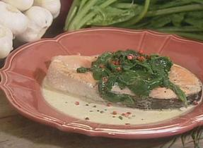 Salmon Steaks with Creamed Spinach, Estrie-Style