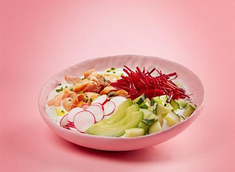 Salmon, Veggies and Yogurt Bowl Recipe