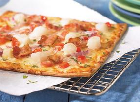 Scallop and Coriander Pizza with Mozzarella