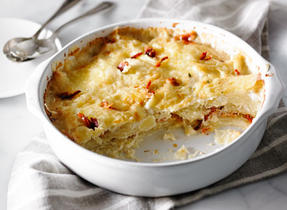 Scalloped Potatoes with Bacon and Sun-Dried Tomatoes