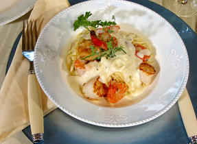Seafood sauté with vanilla Mornay sauce