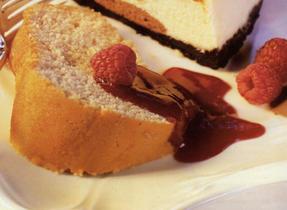 Semolina Wreath Cake with Raspberry Sauce