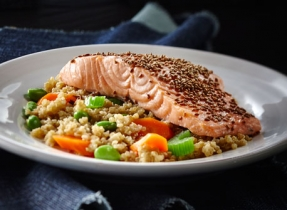 Sesame Ginger Veggie Quinoa with Salmon