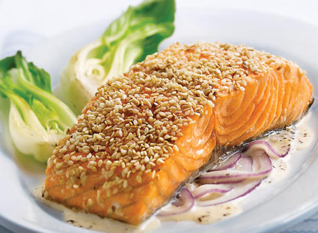 Sesame Salmon Fillets with Red Onion and Ginger Cream Recipe